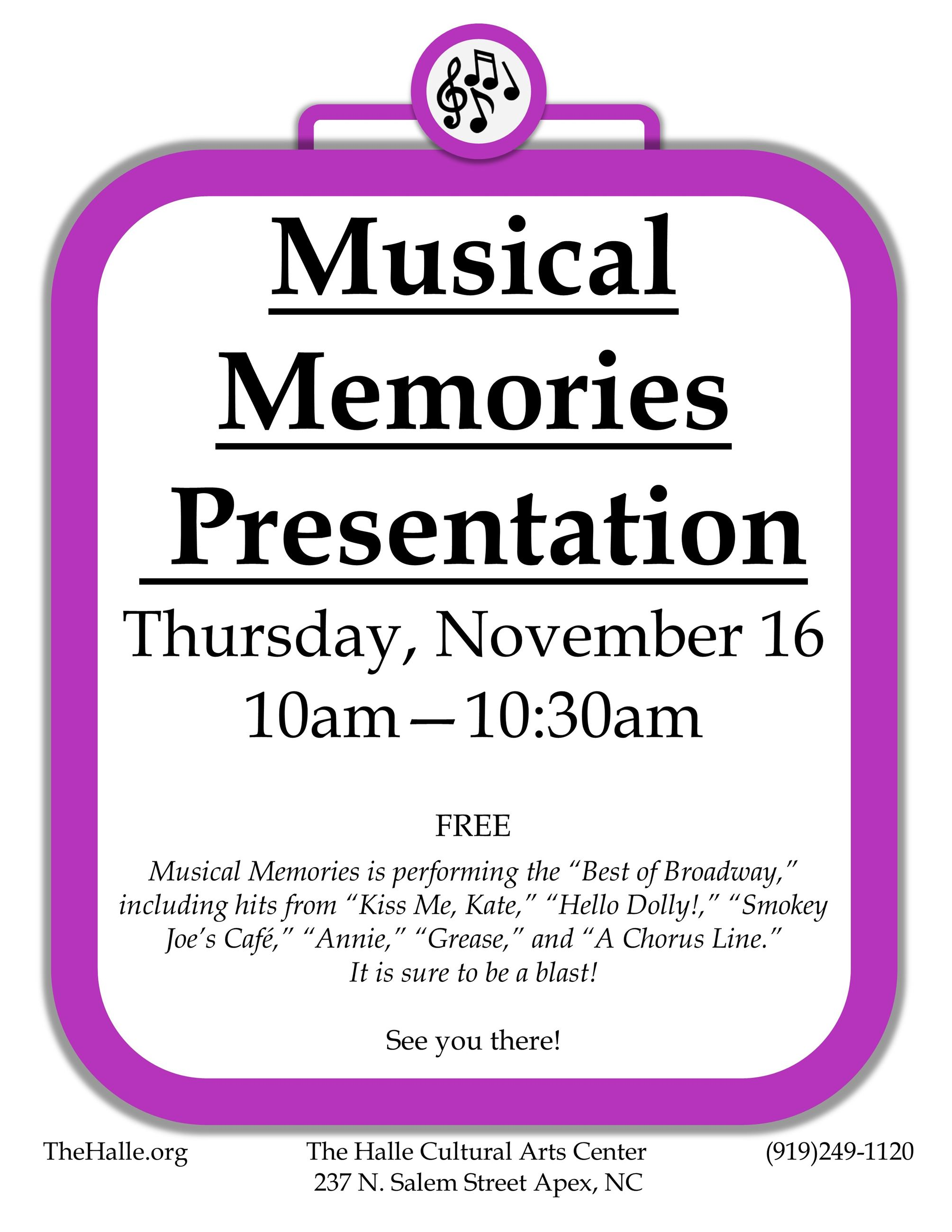 Senior Musical Memories NOV 2017