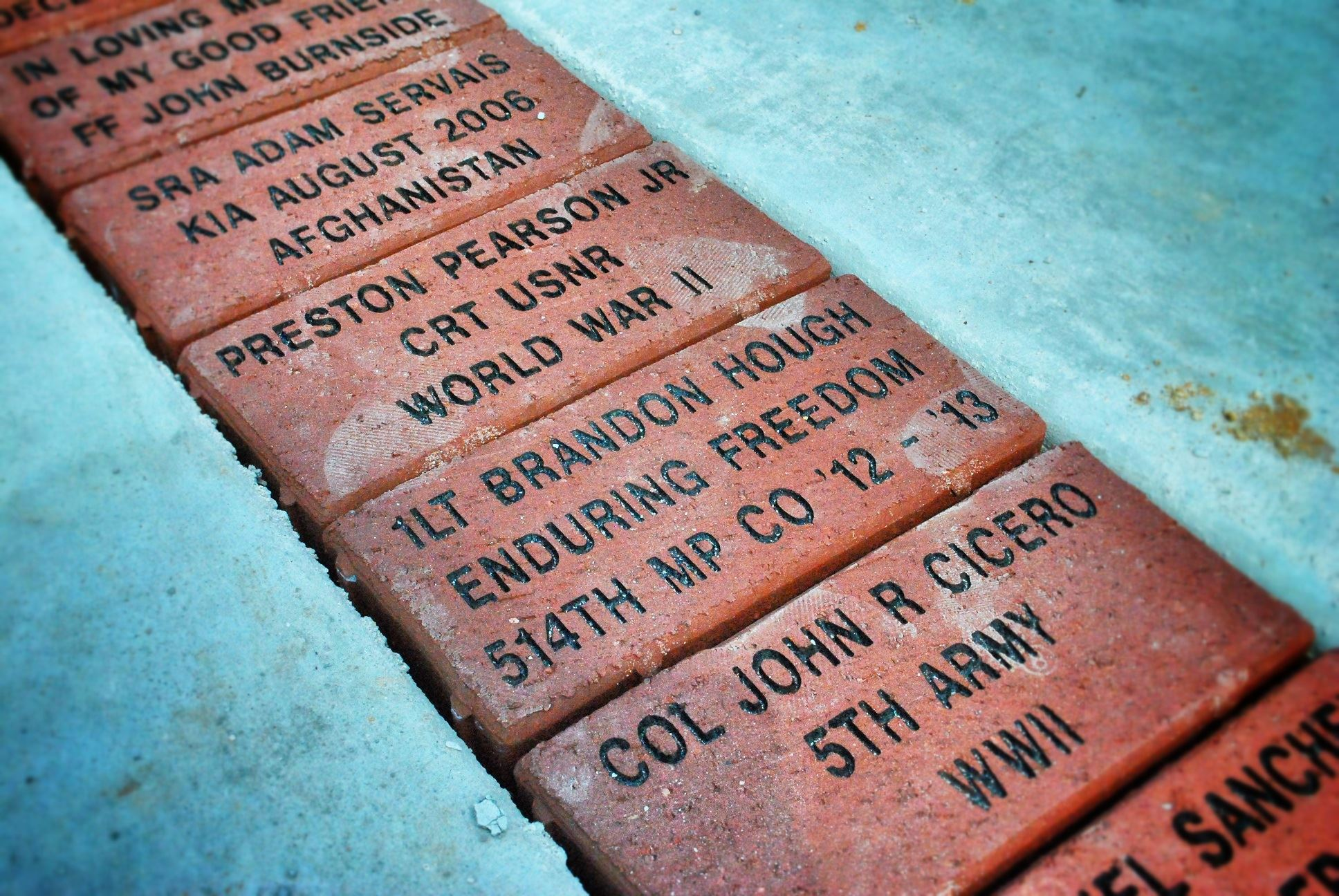 Service Memorial Engraved Bricks